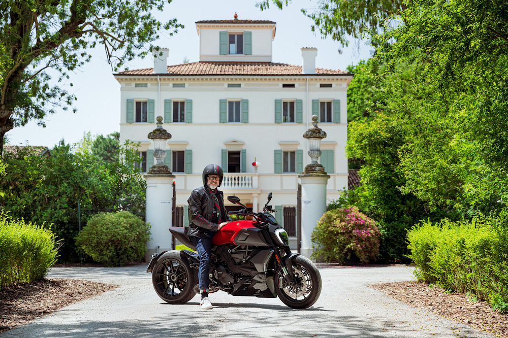 Man driving the Ducati