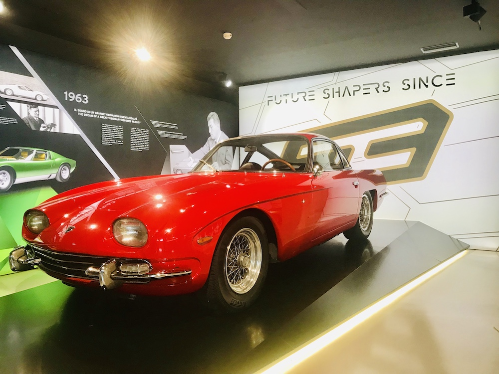 A Lamborghini shown in a museum