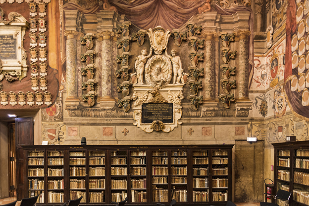 The library at the Archiginnasio, where classes were once held