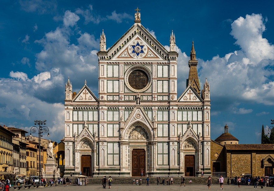 View of Santa Croce church in Florence