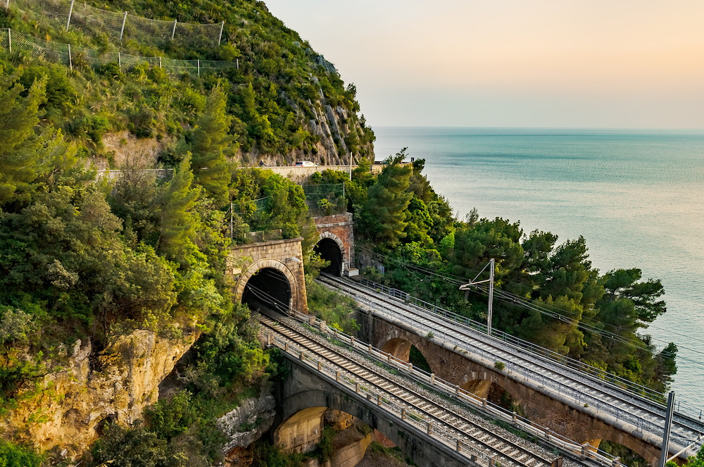 A picturesque view along the train route in Calabria