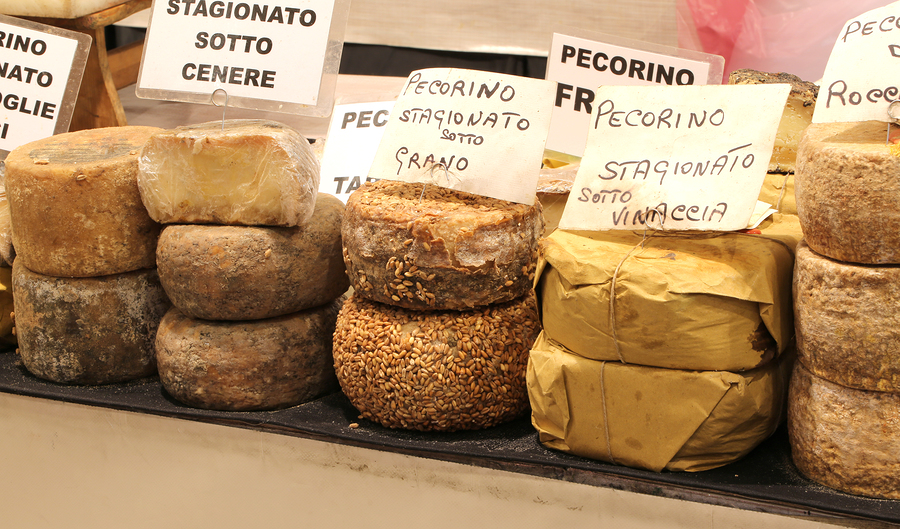 A variety of pecorino cheese aged in different varieties