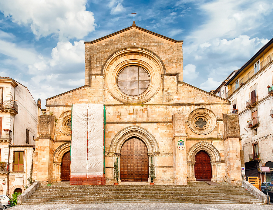Facade of the ancient cathedral of Cosenza