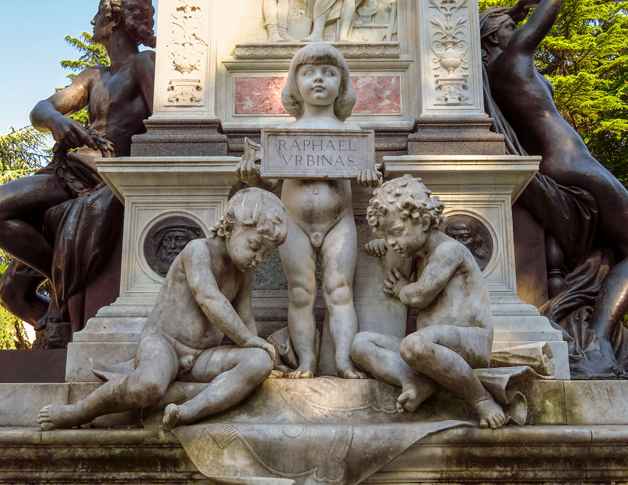 Elements of the monument of the Raphael in his birthplace Urbino city Italy