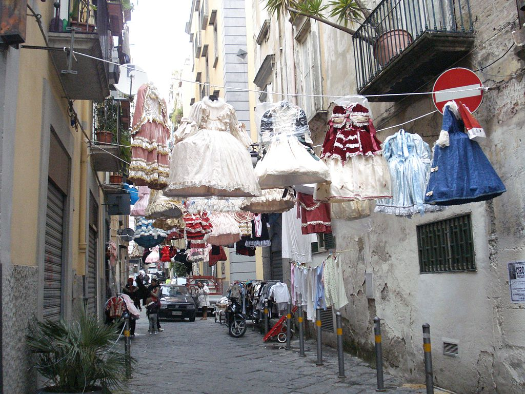 Carnival decorations in the city streets of Naples