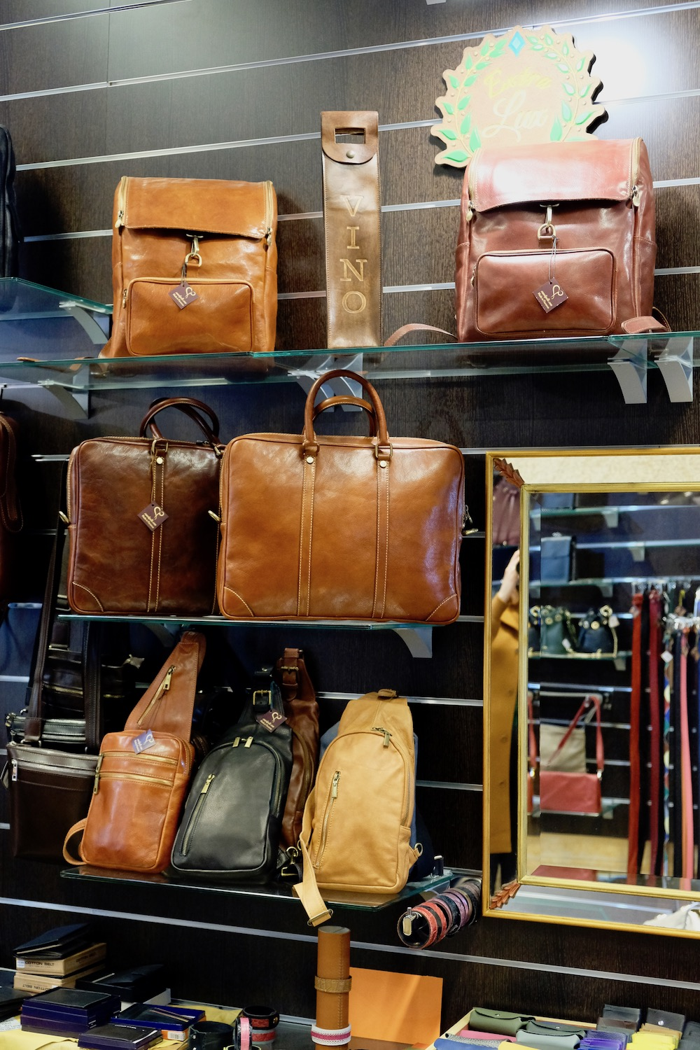 Leather bags on display