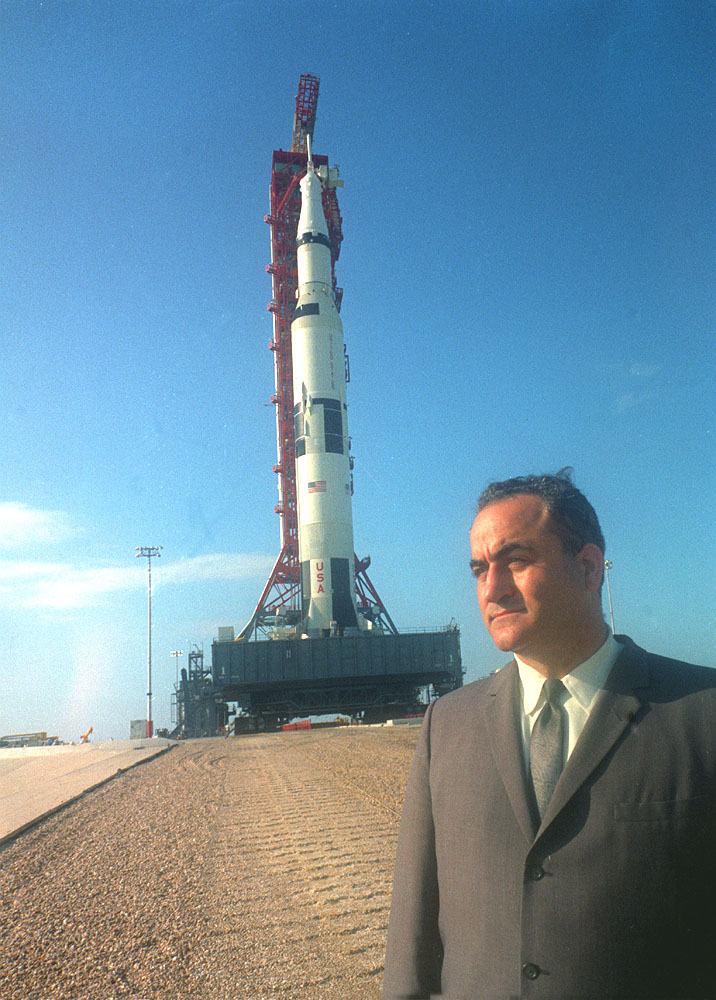 Rocco Petrone with lunar rocket