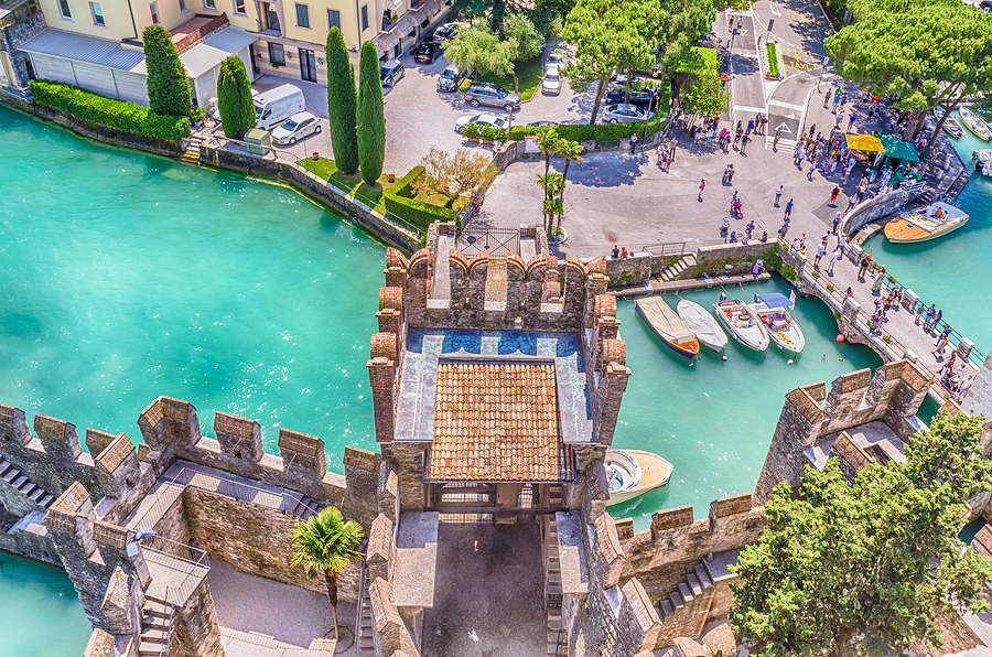 Castle of Sirmione on Lake Garda in Italy