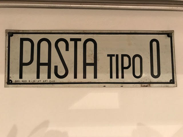 Sign that says Pasta tipo 0