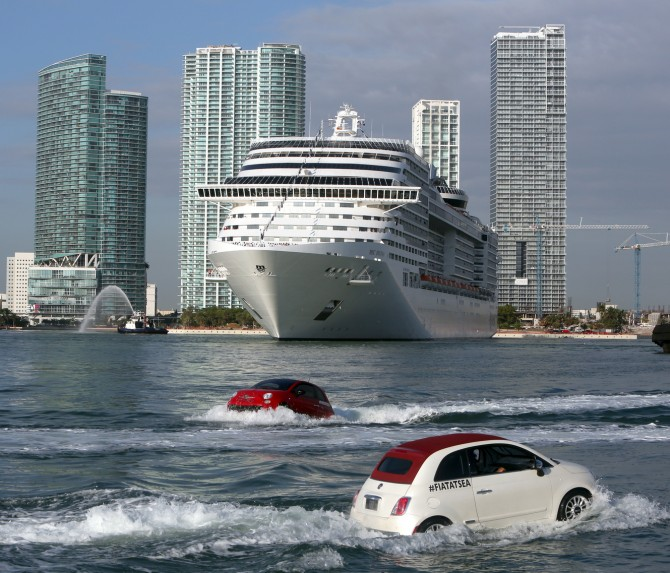 Cruise Ship Port Miami: Fiat 500 Cars Cruise On Water