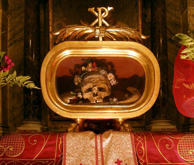 Is St Valentine S Skull Inside Santa Maria Basilica In