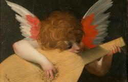 Angel playing the lute painting by Rosso Fiorentino