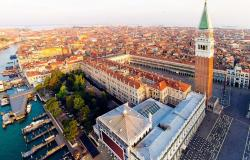 Aerial view of Venice's St. Mark's Square area