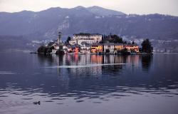 Orta Lake, island Isola S.Giulio and Alps view Piedmont