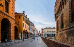 Detail of Ferrara's historic center in Italy
