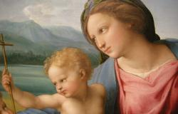 Detail from Madonna Alba painting by Raphael