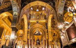 Saracen arches and Byzantine mosaics in the Palatine Chapel of the Royal Palace in Palermo, Sicily