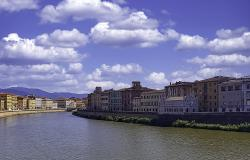 The Arno river and riverside buildings in Pisa