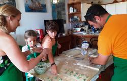 Family at work making Pansotti