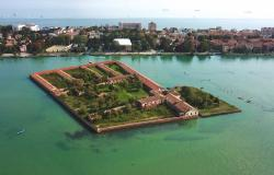 Aerial view of Lazzaretto island in Venice