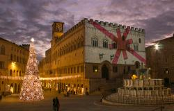 Christmas tree and decorations during the 2020 holidays in Perugia Italy