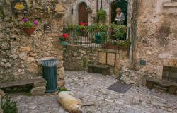 Picturesque street in Santo Stefano di Sessanio Abruzzo Italy