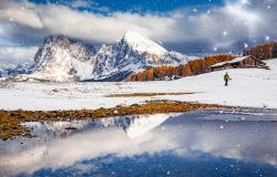 Early winter landscape in the Dolomites