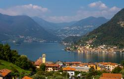 Aerial view of Lake Iseo Italy