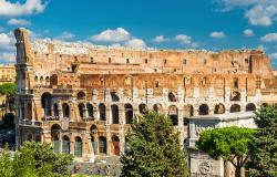 Exterior view of Colosseum in Rome Italy