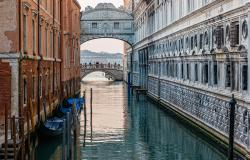 Looking toward the Bridge of Sighs in Venice