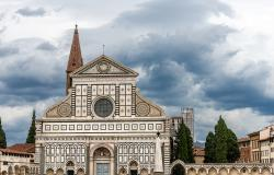 The main facade of the famous Basilica of Santa Maria Novella, in Gothic-Renaissance style