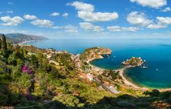 Beautiful Taormina panoramic view from up