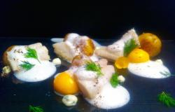 Confit Cod with Confit Egg Yolks and Dill Mayonnaise