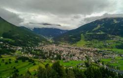 Aerial view of Bormio in Lombardy, Italy