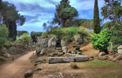Landscape view of the etruscan necropolis of Cerveteri, Italy