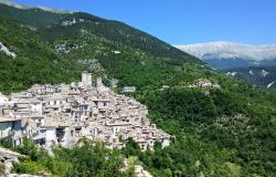 Small mountain village of Pacentro in central Italy