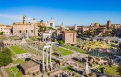 View of the Roman Forum in Rome Italy