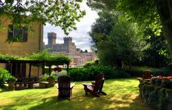 Garden and castle view at La Villa di Torre Alfina