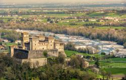 View of the Castle of Torrechiara and surrounding countryside