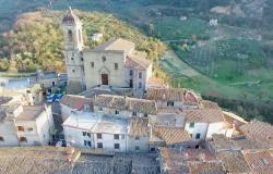 Aerial view over the medieval village of Toffia