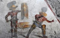 Gladiators fresco in Pompeii