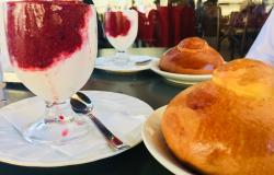Granita and brioche at Cafe Prestipino in Catania