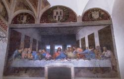The Last Supper painting in the Cenacolo Vinciano in Milan Italy