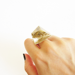 Resin ring with gold nails - S 1