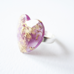 Gold and lilac heart ring 1