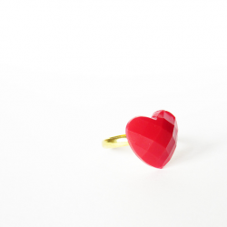 Tiny red HEART ring 3