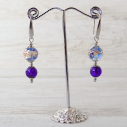 Murano Glass Earrings - Baète periwinkle 1