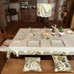 Tablecloth with floral border and lampshade _ Fabric lamp _ table lamp shade _ plafoniera in tessuto _