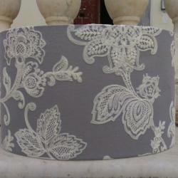 Modern home lighting _ Embroidered flowers on linen lamp shade _ Table lampshade _