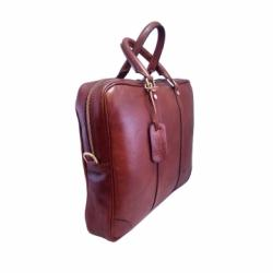 Brown Lux Laptop Holder - Genuine Leather - Handbuffered - Made in Florence (Italy)